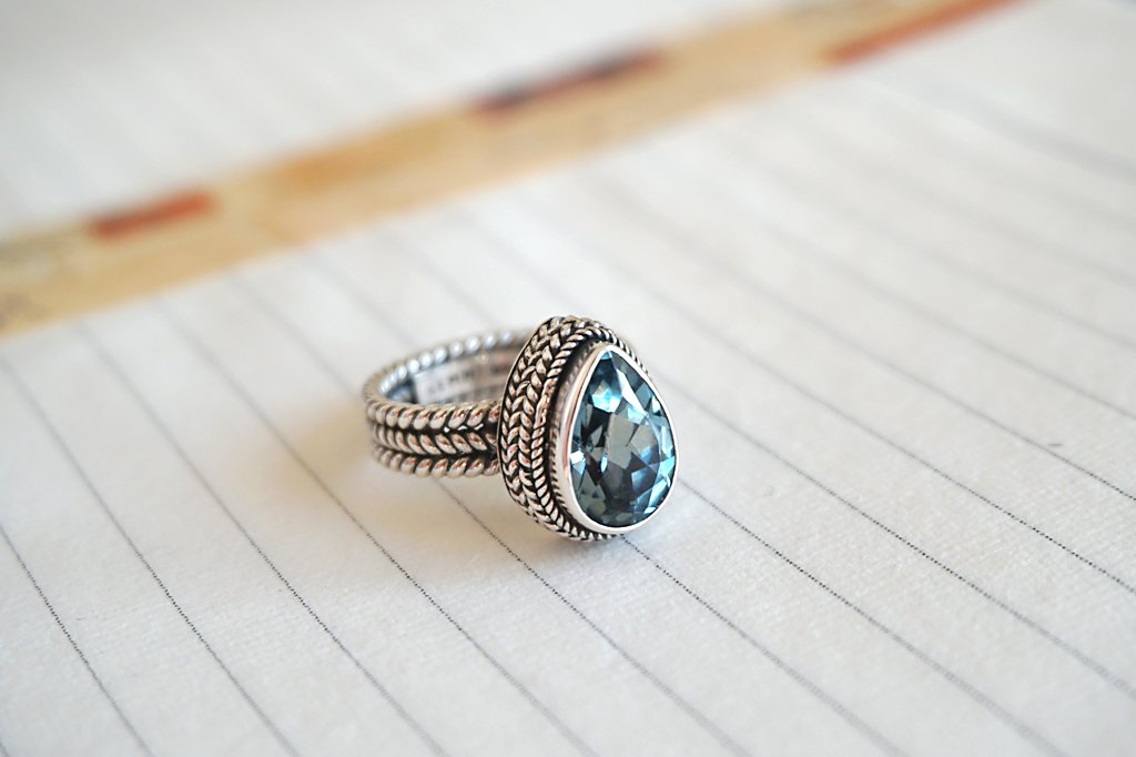 women's silver statement ring blue topaz bohemian chic gypsy jewelry kemmi collection