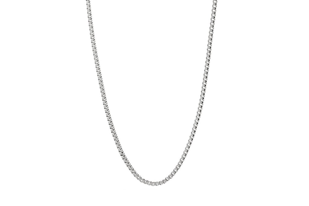 Men's sterling silver box chain necklace modern style Kemmi Collection