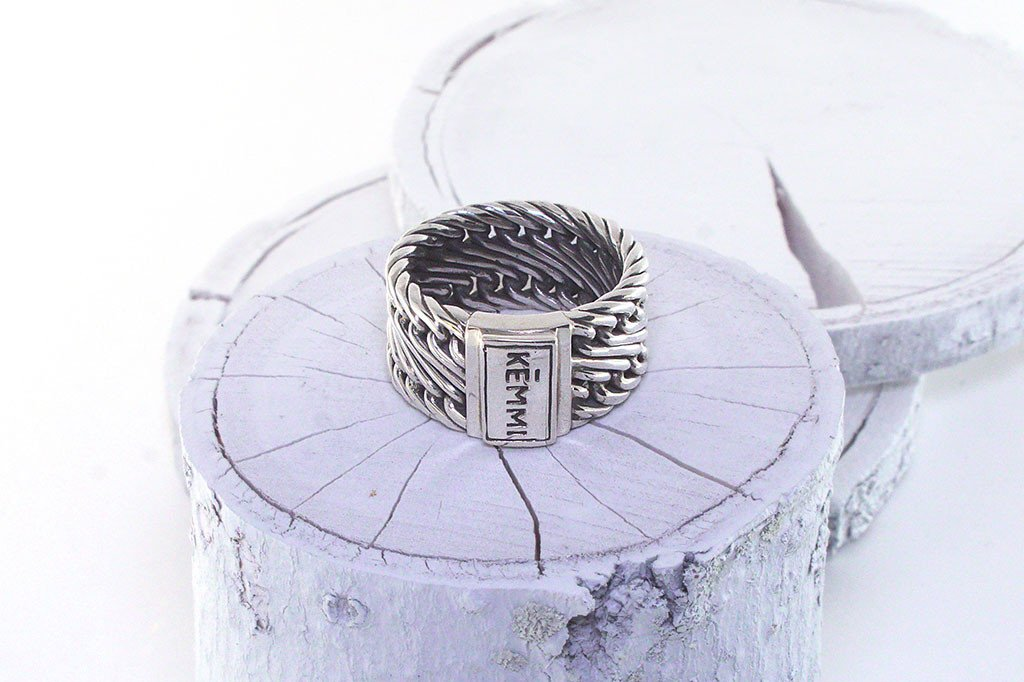 Heavy Men's silver ring modern style handmade jewelry fashion kemmi collection