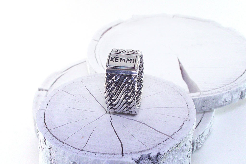 Solid men's silver ring handmade jewelry modern style fashion kemmi collection