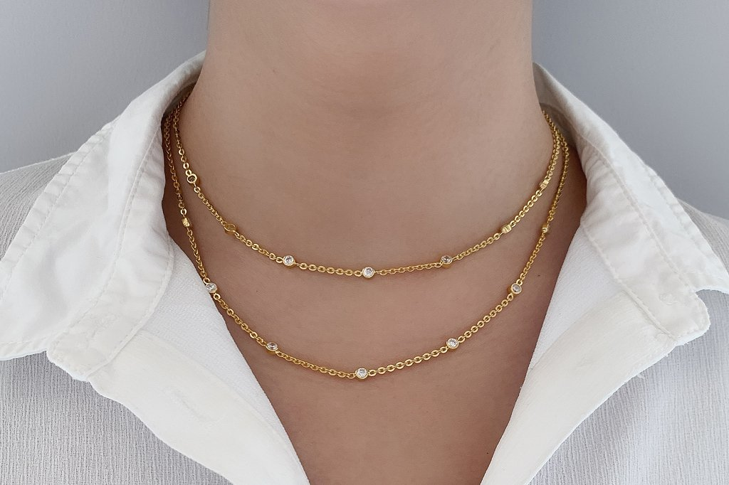 Yellow Gold Celeste Bezel Necklace