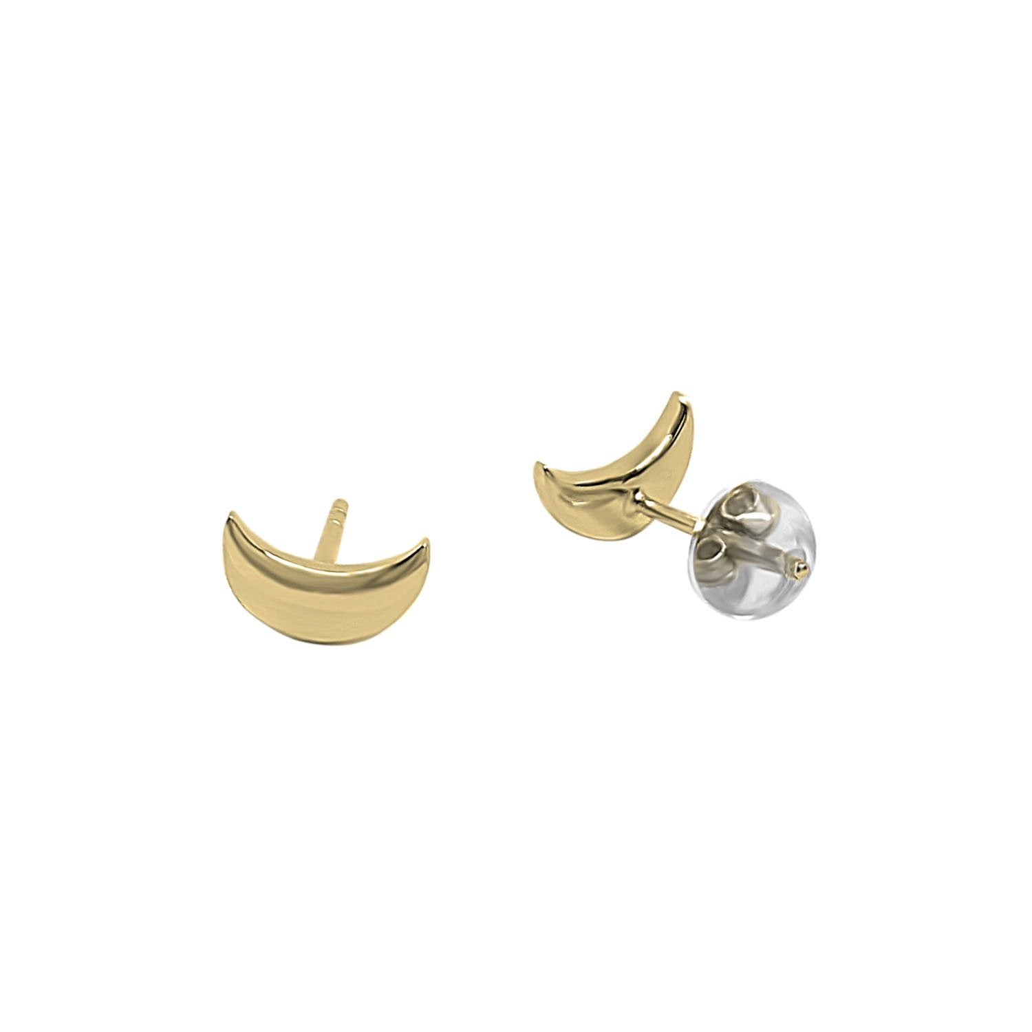 Gold Crescent Stud Earrings