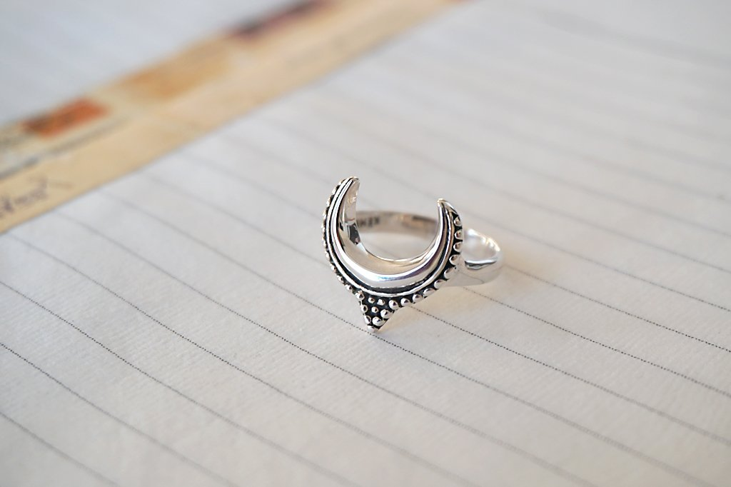 women's sterling silver ring crescent moon boho bohemian handmade jewelry kemmi collection