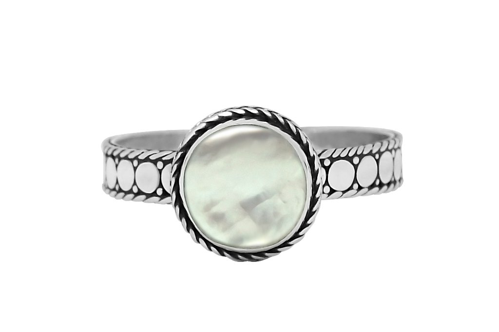 Silver Disc Round Mother of Pearl Ring