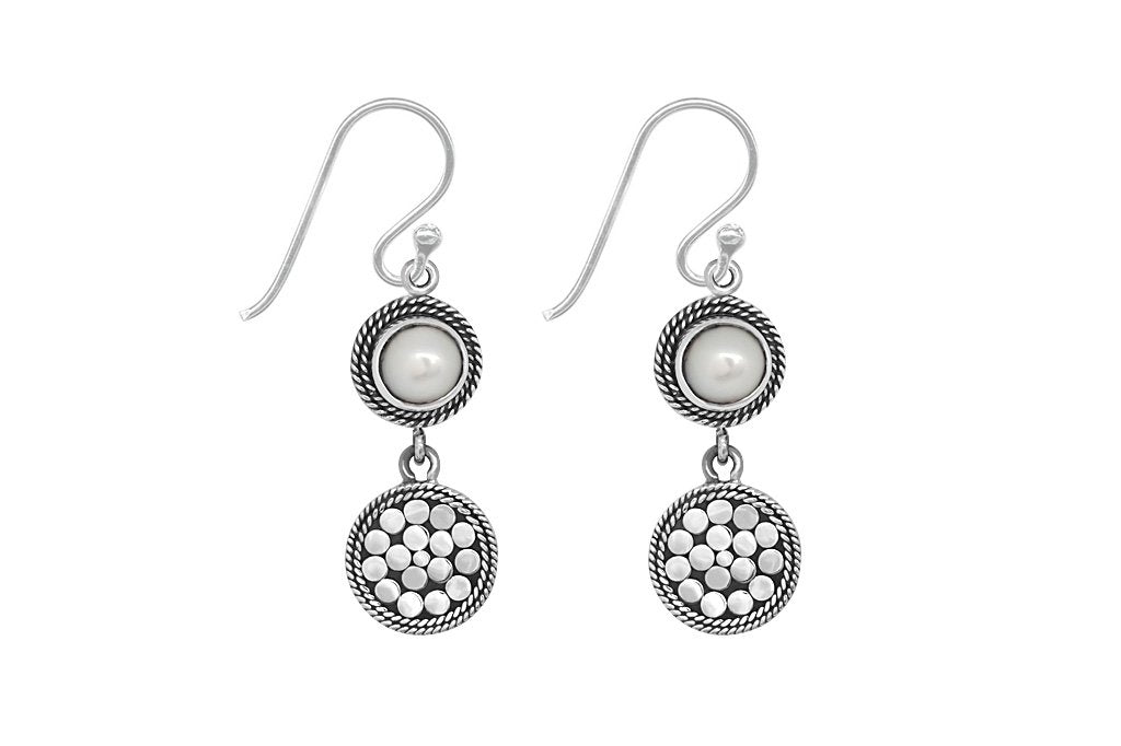 sterling silver drop earrings pearl handmade bohemian chic jewelry kemmi collection