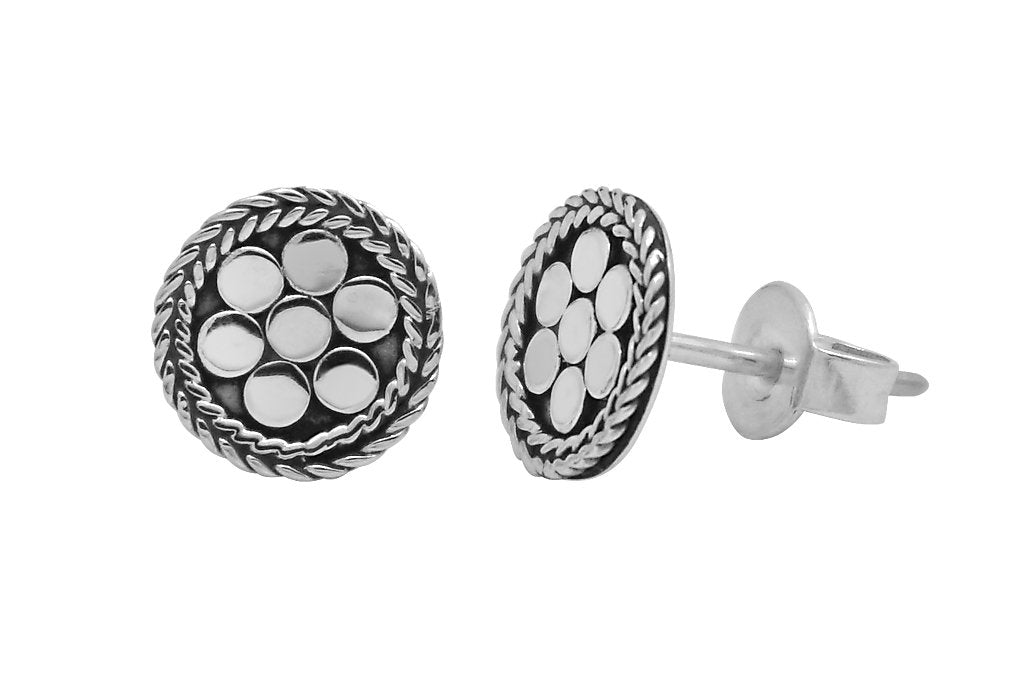 women's silver studs earrings round shape discs bohemian gypsy jewelry kemmi collection