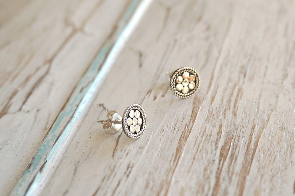 silver earrings studs boho chic gypsy handmade jewellery kemmi collection