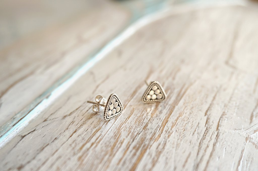 sterling silver earring studs triangle shape handmade boho chic bohemian gypsy jewelry kemmi collection