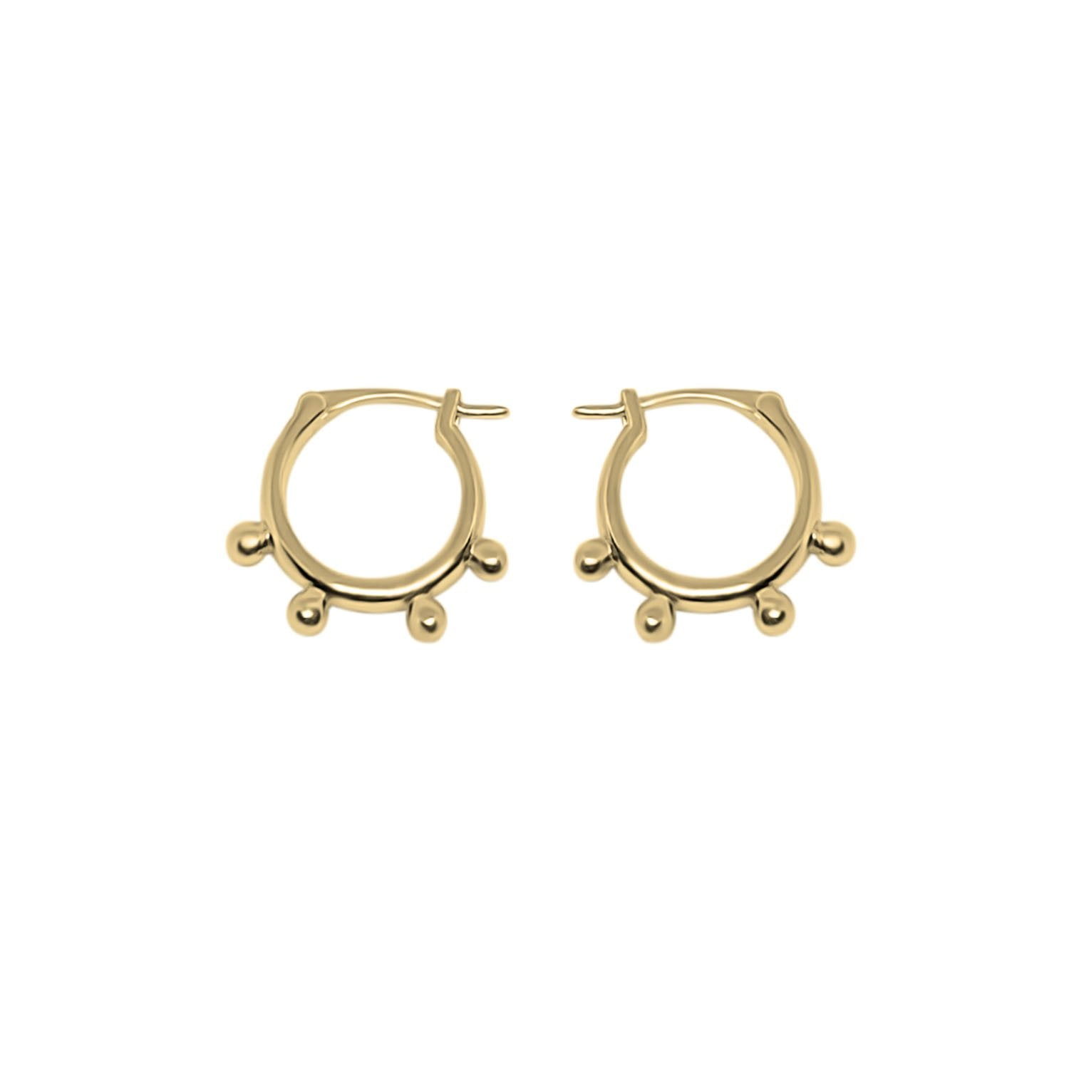 Gold Dotted Hoops Earrings