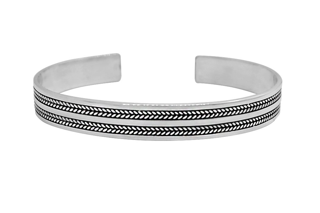 men's silver cuff bangle bracelet modern everyday style kemmi collection