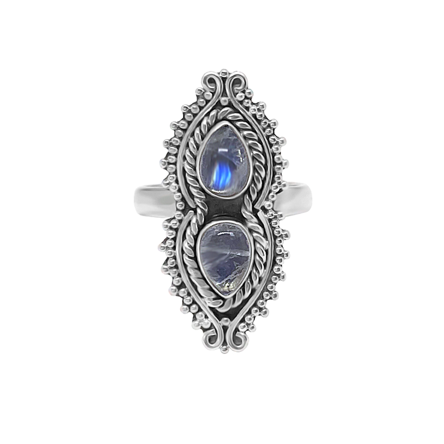 statement sterling silver ring double moonstone handmade jewelry bohemian style kemmi collection
