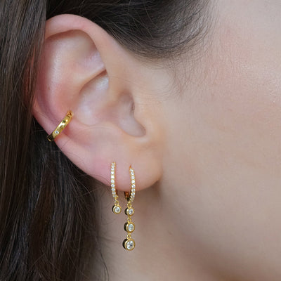 14k gold vermeil earrings pavé hoop drop pendant ear cuff cubic zirconia jewelry kemmi boho chic