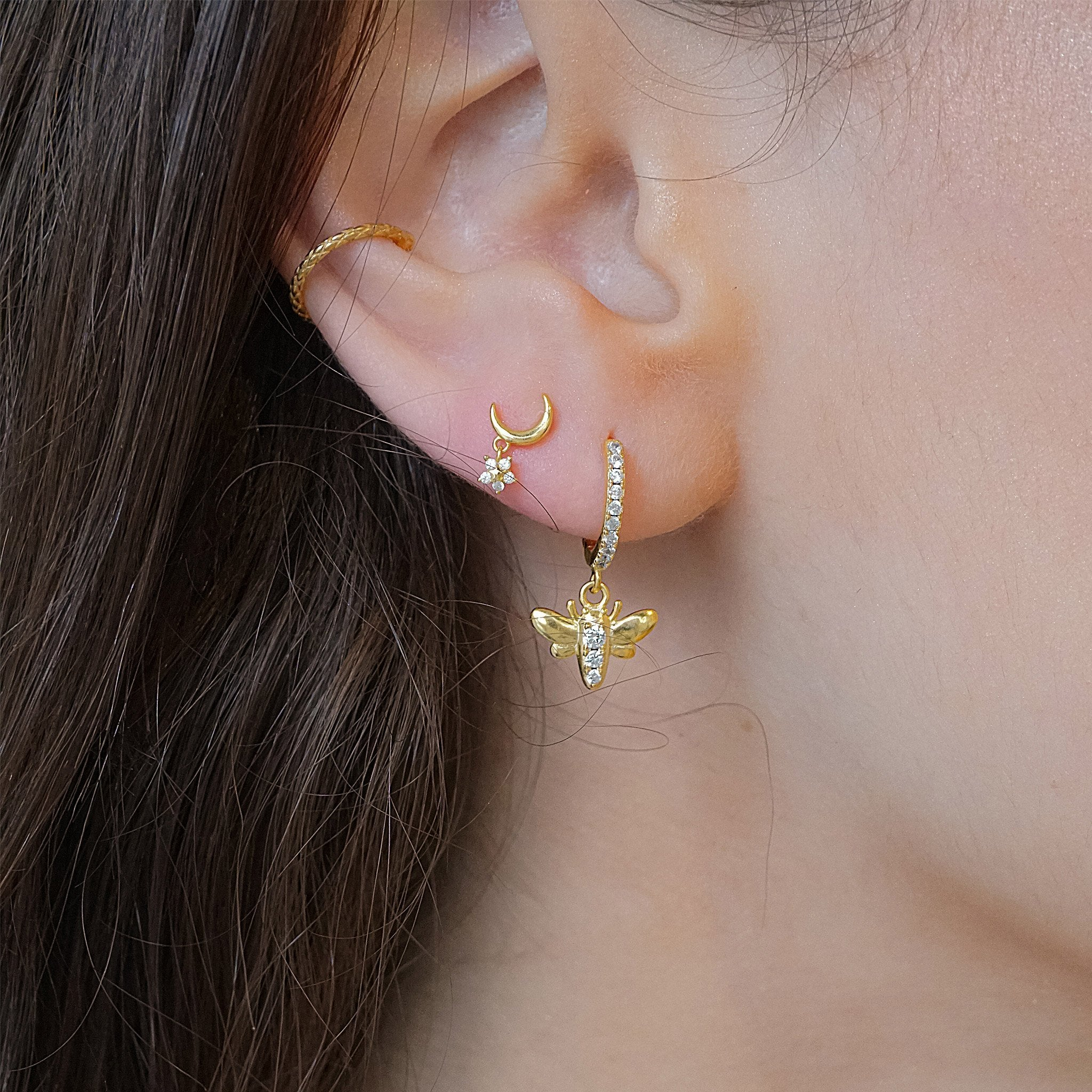 14k gold vermeil earrings ear cuff bee earring star drop cubic zirconia kemmi jewelry boho chic