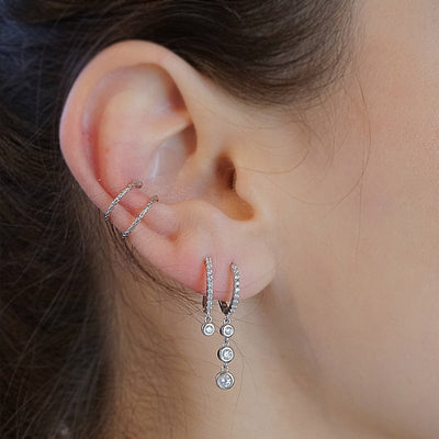 sterling silver earrings drop cubic zirconia ear cuff earrings handmade kemmi jewelry