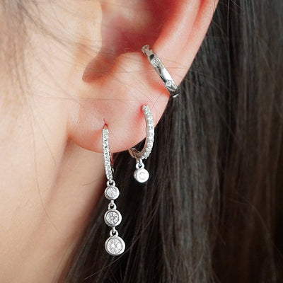 sterling silver ear cuff cubic zirconia stone earring stacks hoops boho chic jewelry kemmi collection