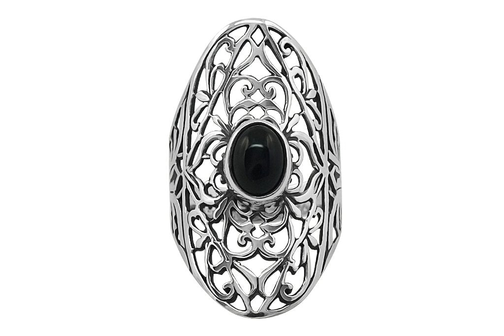 large bohemian sterling silver ring black onyx ornaments gypsy jewelry kemmi collection