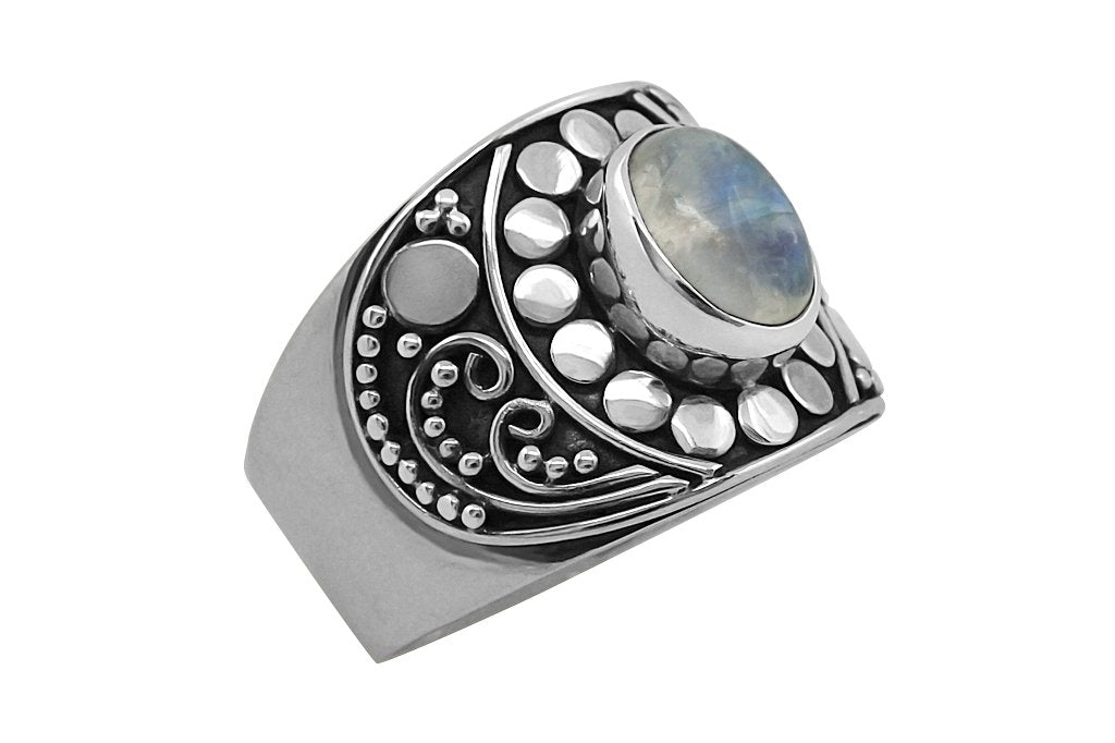 Sterling silver ring moonstone boho handmade jewelry fashion style hippie kemmi collection