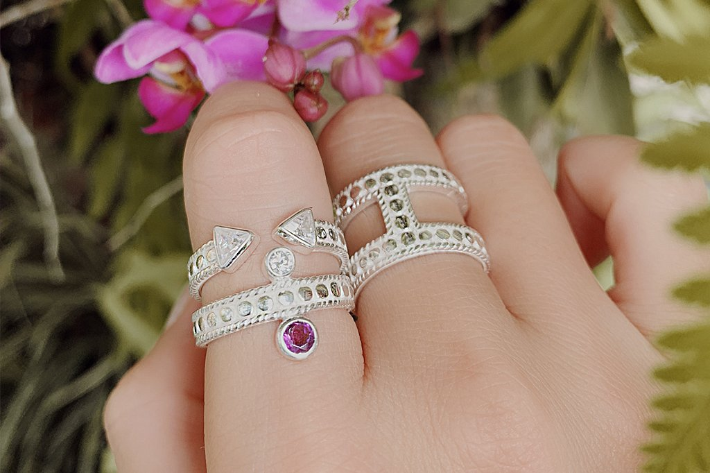 women's white silver handmade ring amethyst stone cubic zirconia stone jewelry stackable kemmi collection