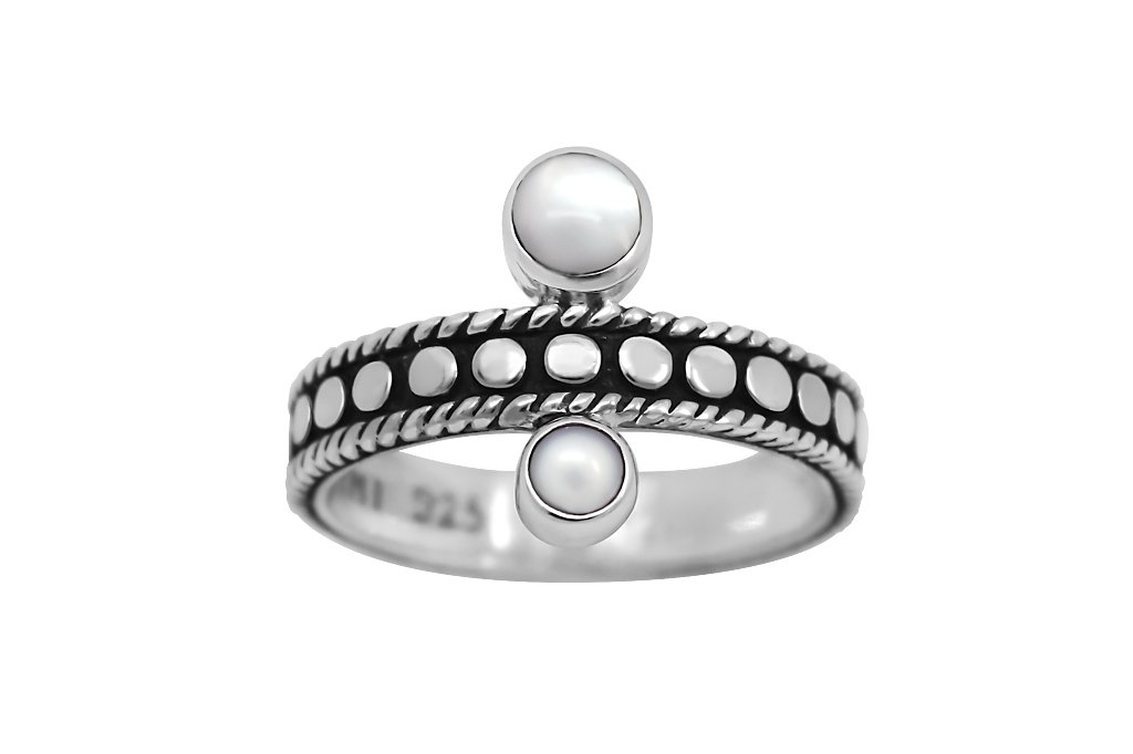 sterling silver handmade ring oxidized tiny pearls bohemian stackable style kemmi collcetion
