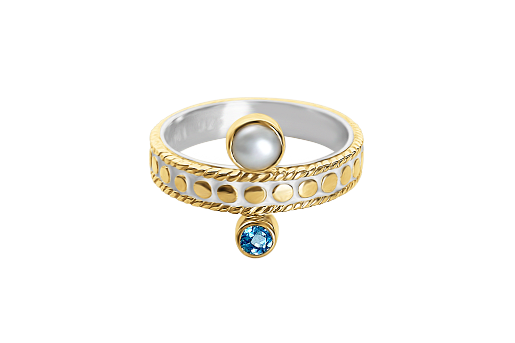 18k yellow gold vermeil stackable ring natural pearl blue topaz stone boho chic luxury handmade jewelry kemmi collection