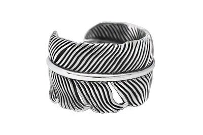feather style sterling silver ring mens adjustable bohemian modern style kemmi collection