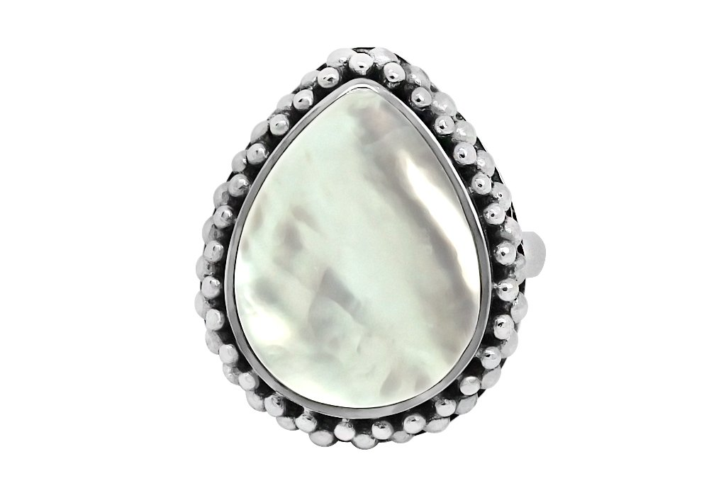 sterling silver ring statement big mother of pearl pear shape gypsy hippie boho handmade jewelry kemmi collection