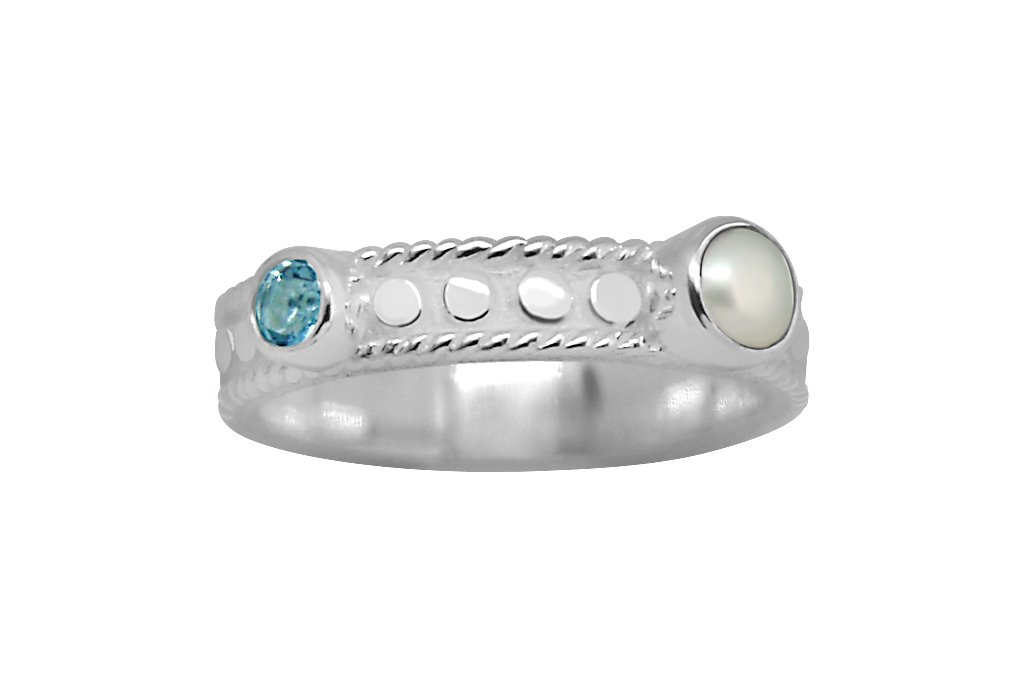 White Silver women's ring featuring natural pearl blue topaz stone bohemian chic jewelry kemmi collection