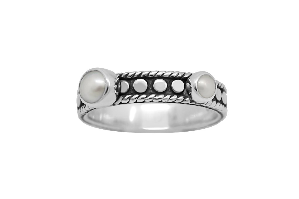 sterling silver stackable ring tiny pearl discs bohemian style kemmi collection