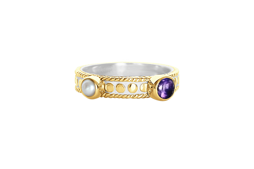 yellow 18k gold vermeil ring amethyst stone natural white pearl stackable ring handmade boho chic luxury jewelry kemmi collection