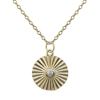 coin pendant necklace cubic zirconia 14k gold vermeil handmade boho jewelry kemmi collection