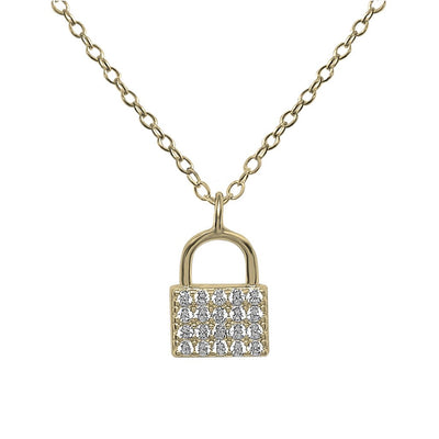 lock pendant pavé cubic zirconia necklace 14k gold vermeil jewelry boho chic kemmi collection