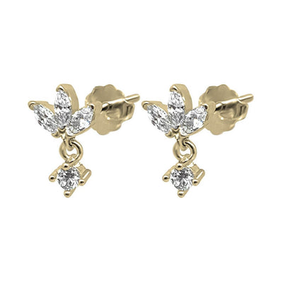 lotus shape stud earrings cubic zirconia side view stones 14k gold vermeil jewelry dainty style kemmi collection