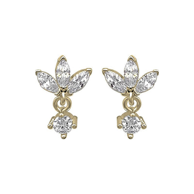 lotus shape stud earrings cubic zirconia stones 14k gold vermeil jewelry dainty style kemmi collection