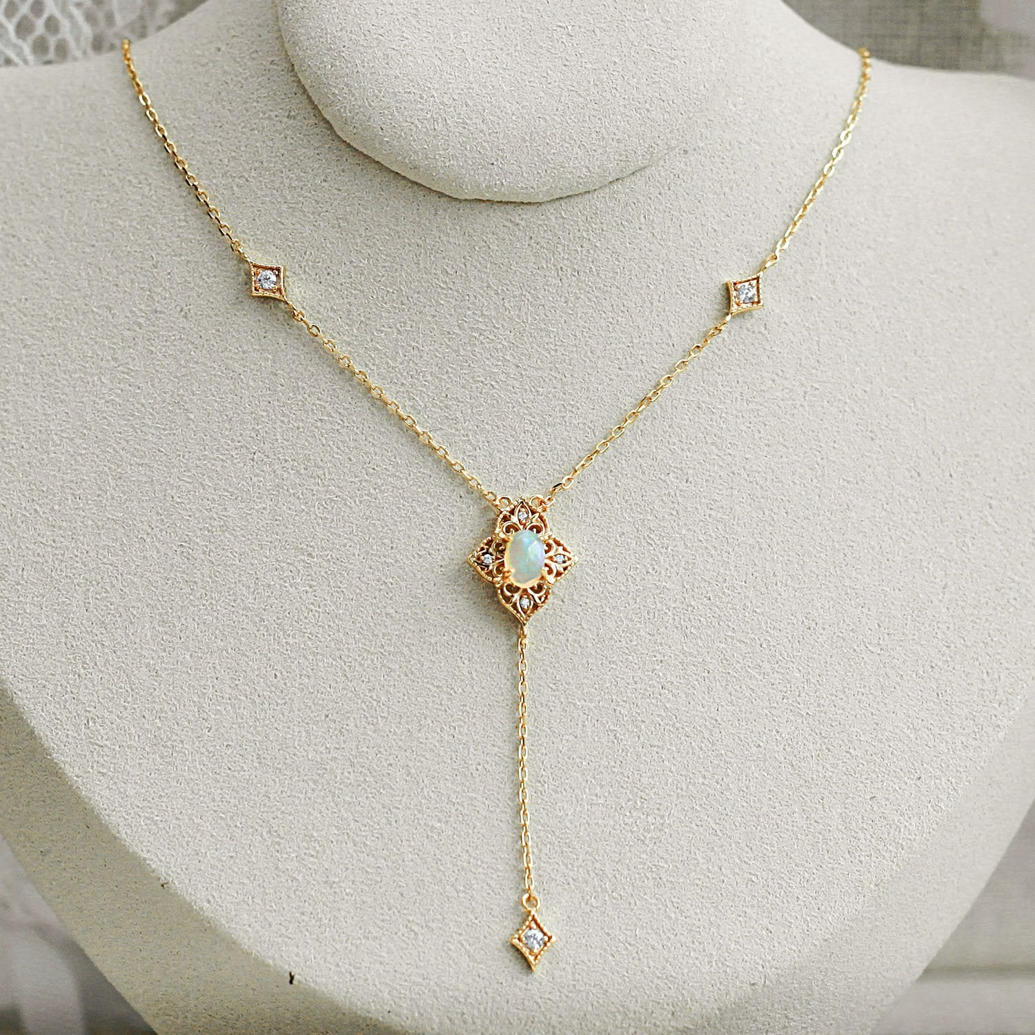 Gold June Opal Necklace