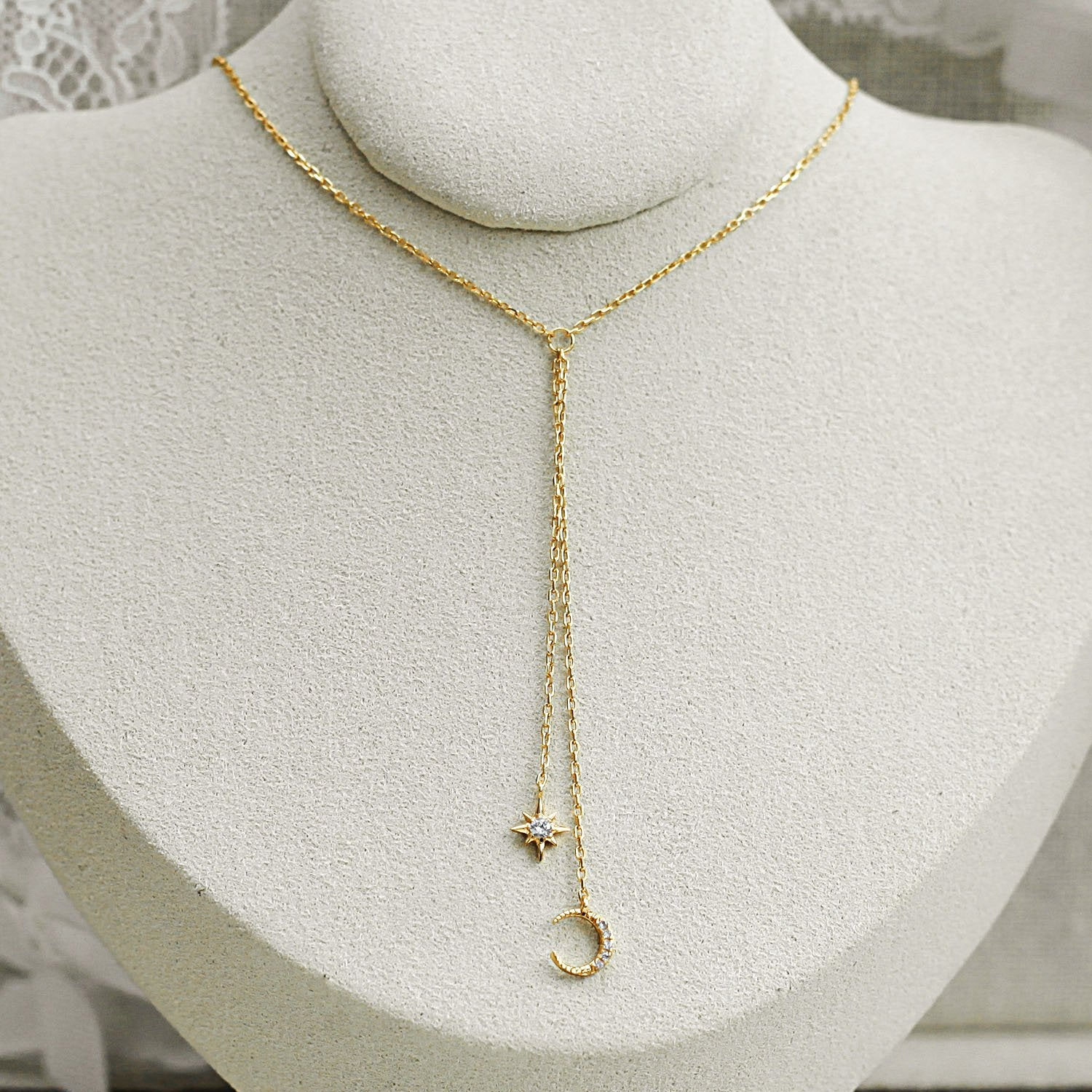 Gold Moon Star Drop Necklace