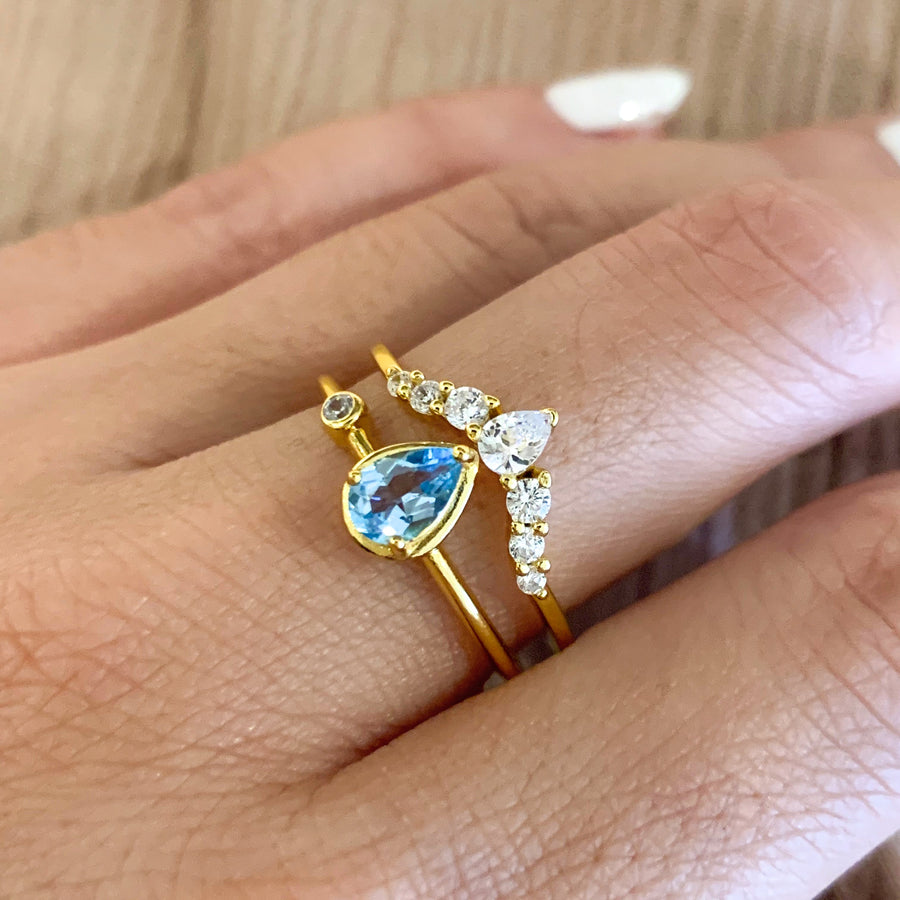 Yellow Gold Briar Swiss B. Topaz Ring