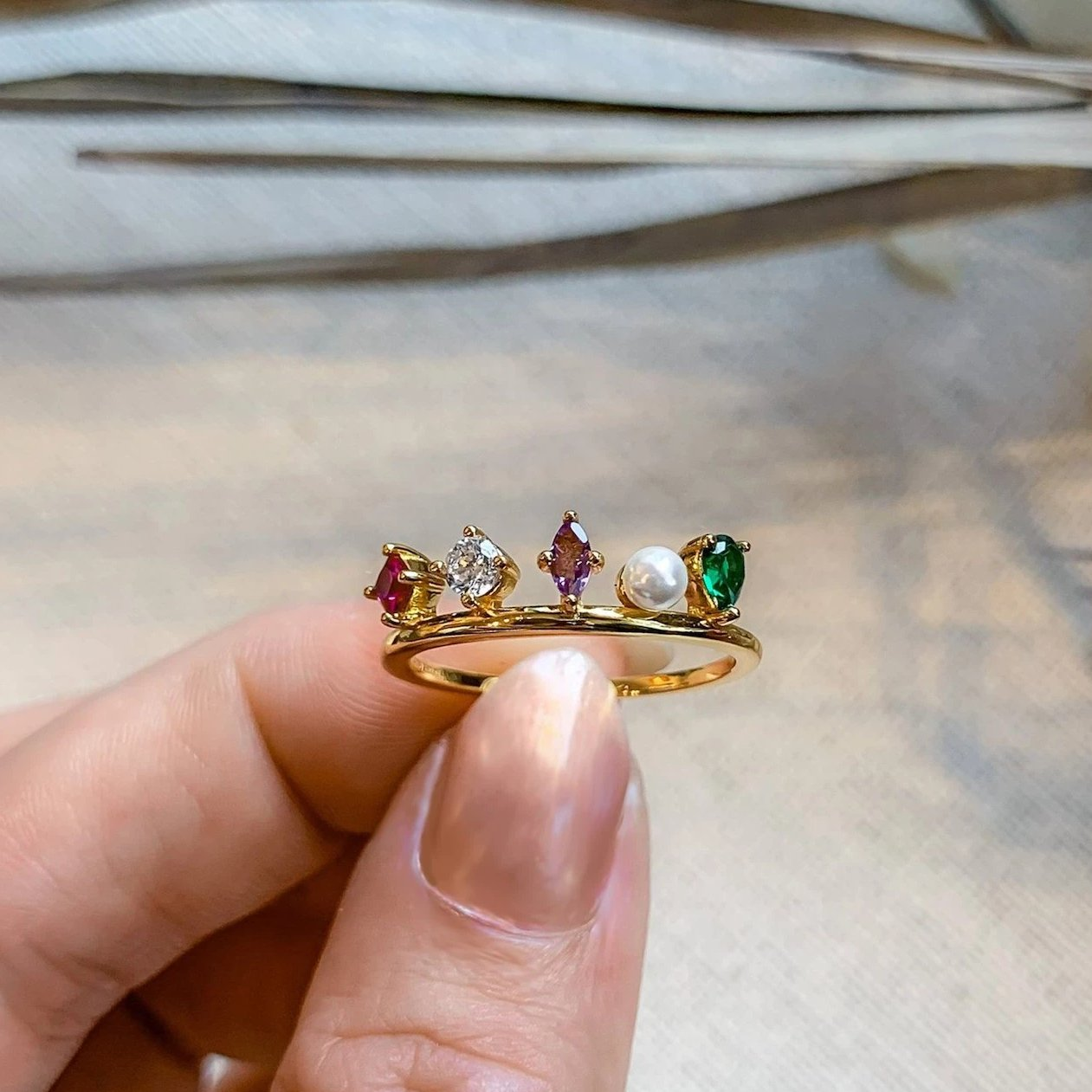 Yellow Gold Celestia Multi CZ Ring
