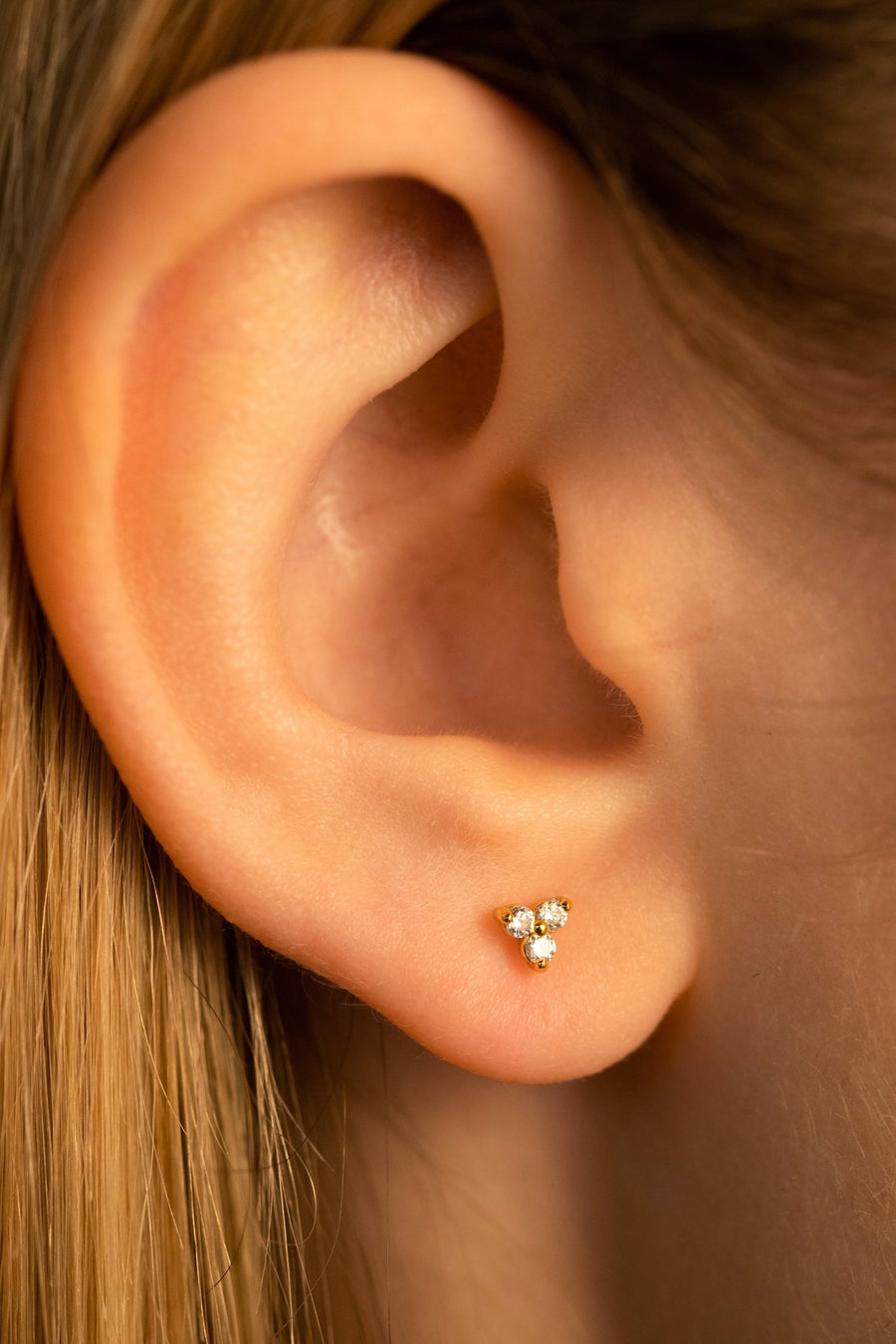 Gold Tri Cz Studs Earrings