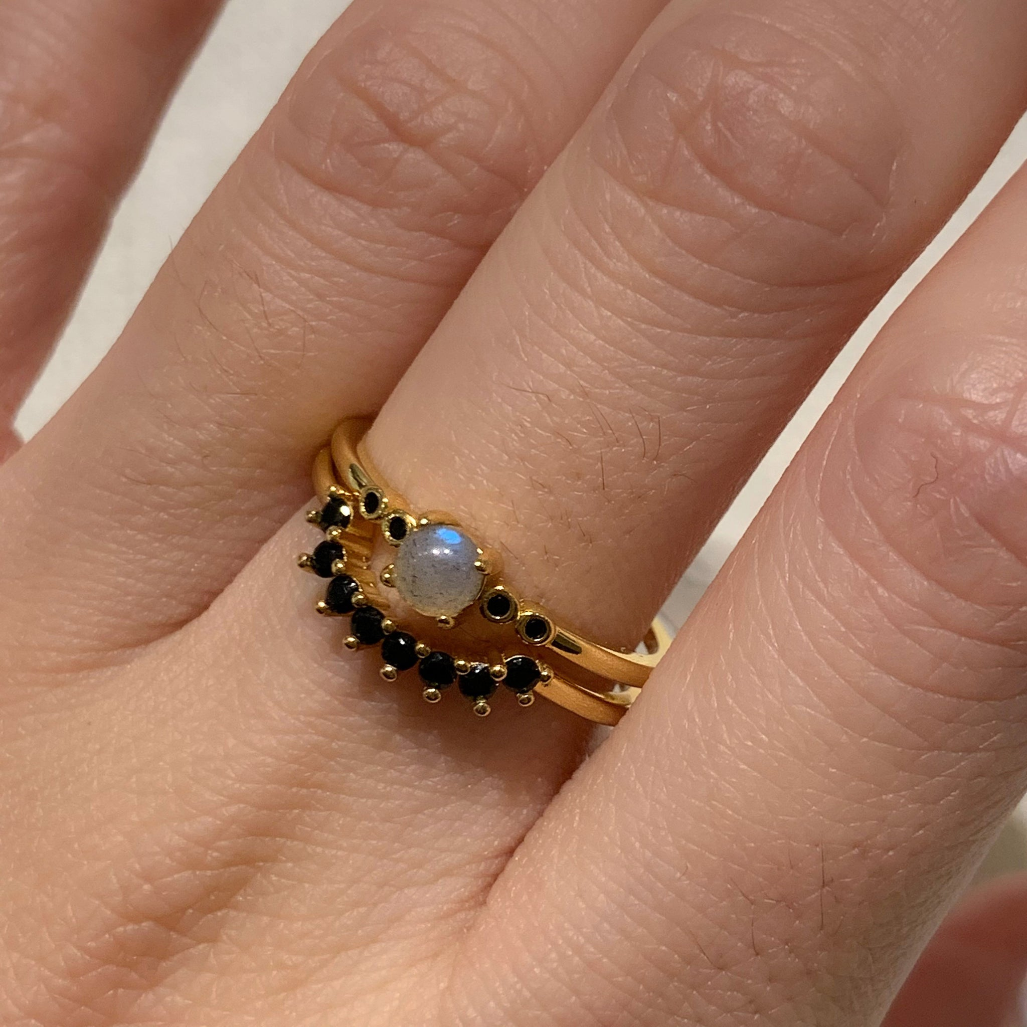 Yellow Gold Liv Black CZ Ring