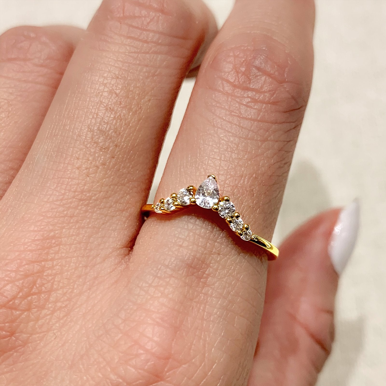 Yellow Gold Lua CZ Ring