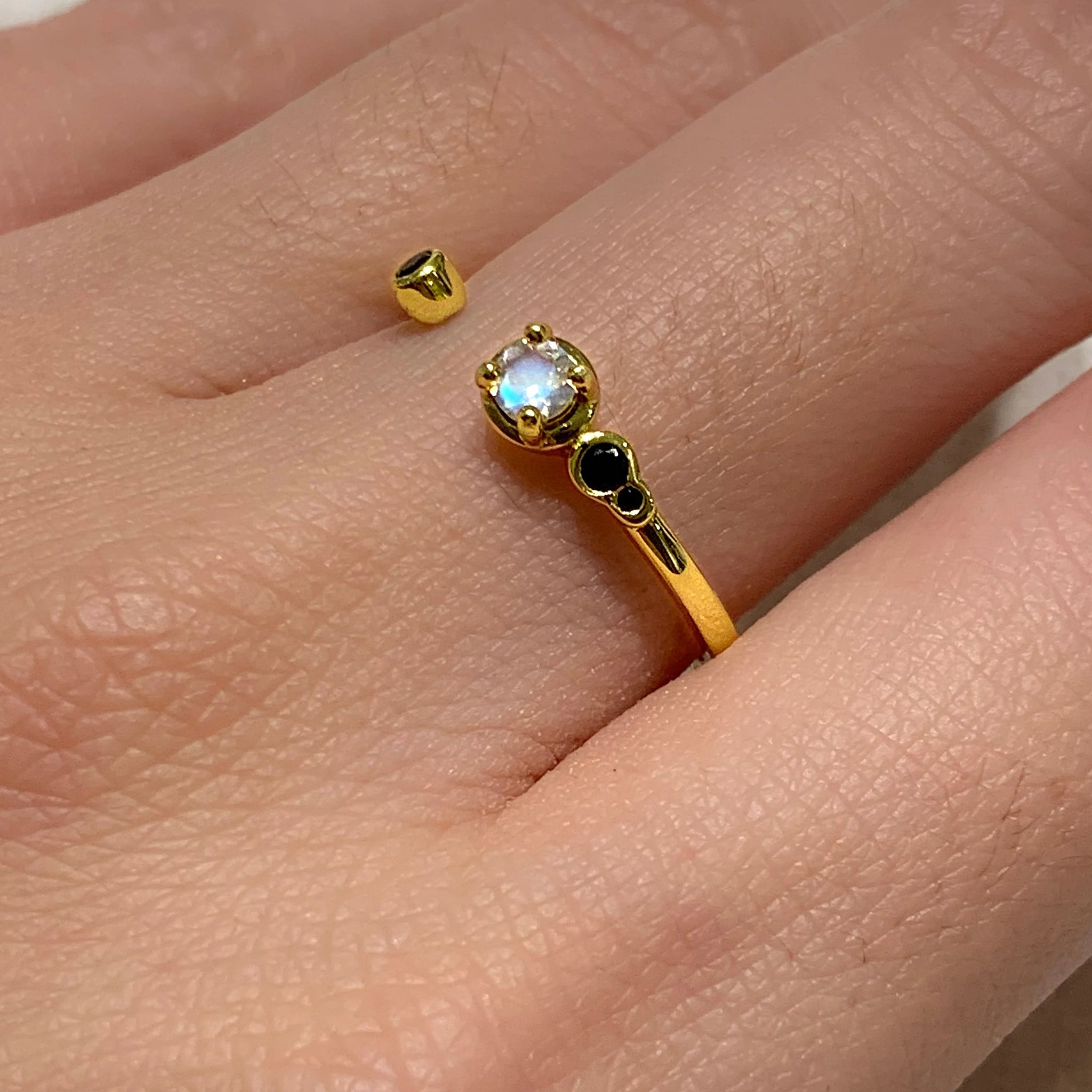 Yellow Gold Aria Black CZ Ring