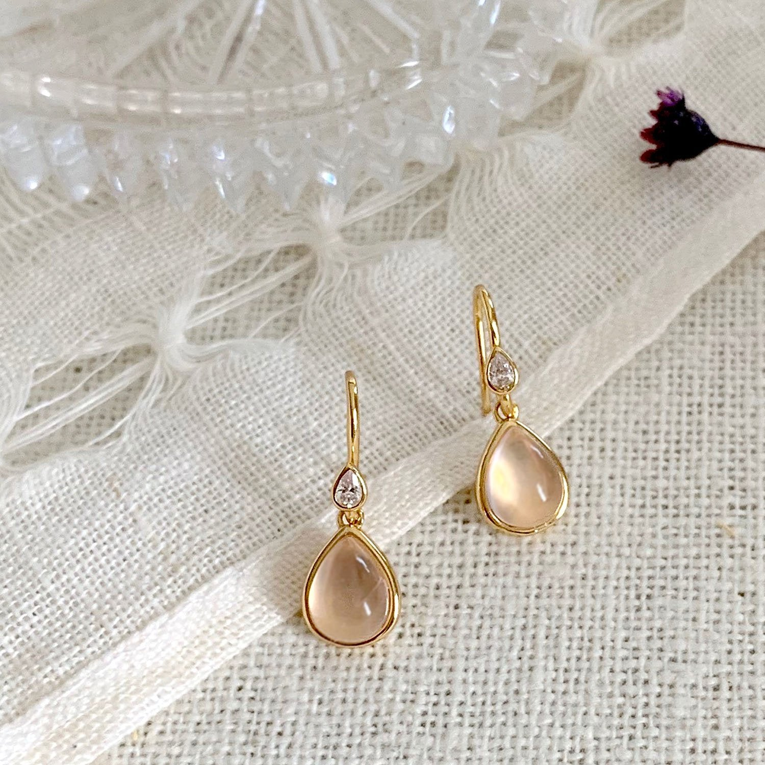 18k gold vermeil earrings rose quartz tear drop shape handmade jewelry kemmi collection