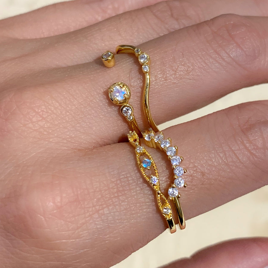 Yellow Gold Liv White CZ Ring