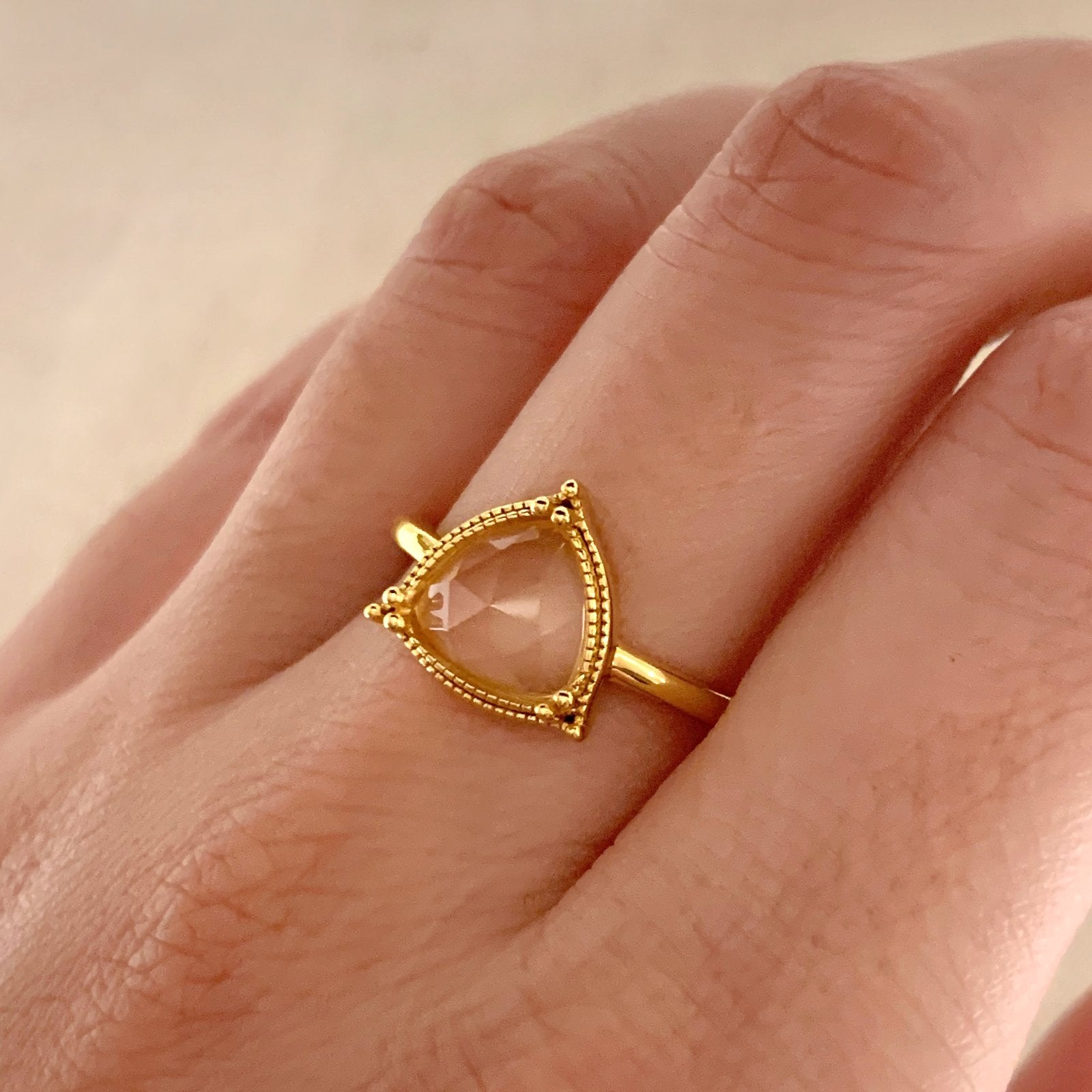 Yellow Gold Elowen Rose Quartz Ring