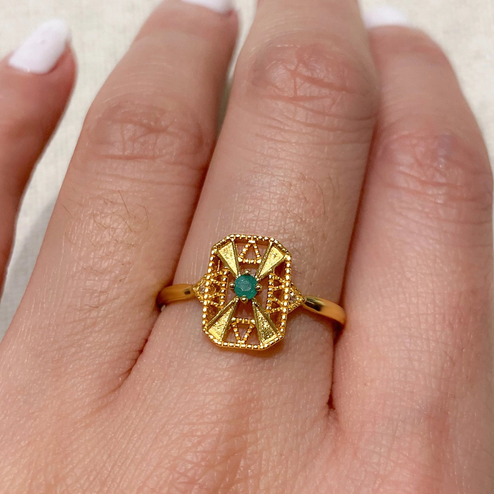Yellow Gold Soleil Emerald Ring