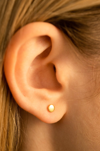 Single Disc Stud Earrings