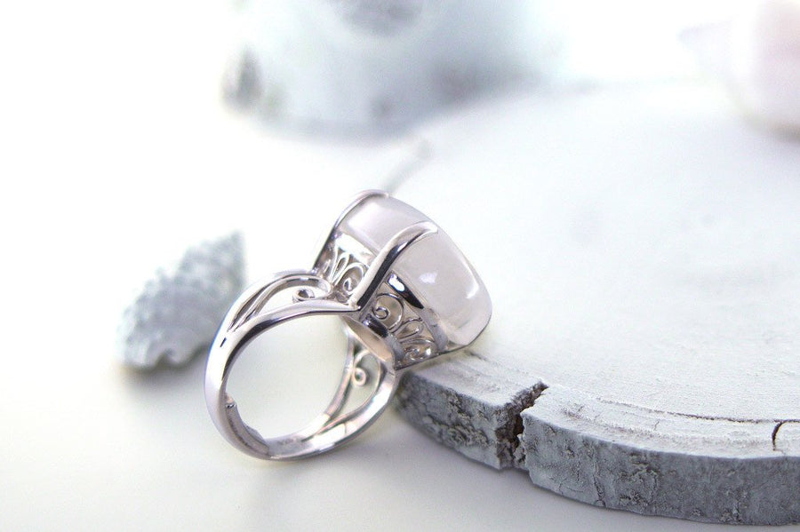 large rainbow moonstone ring sterling silver statement bohemian handmade jewelry kemmi collection