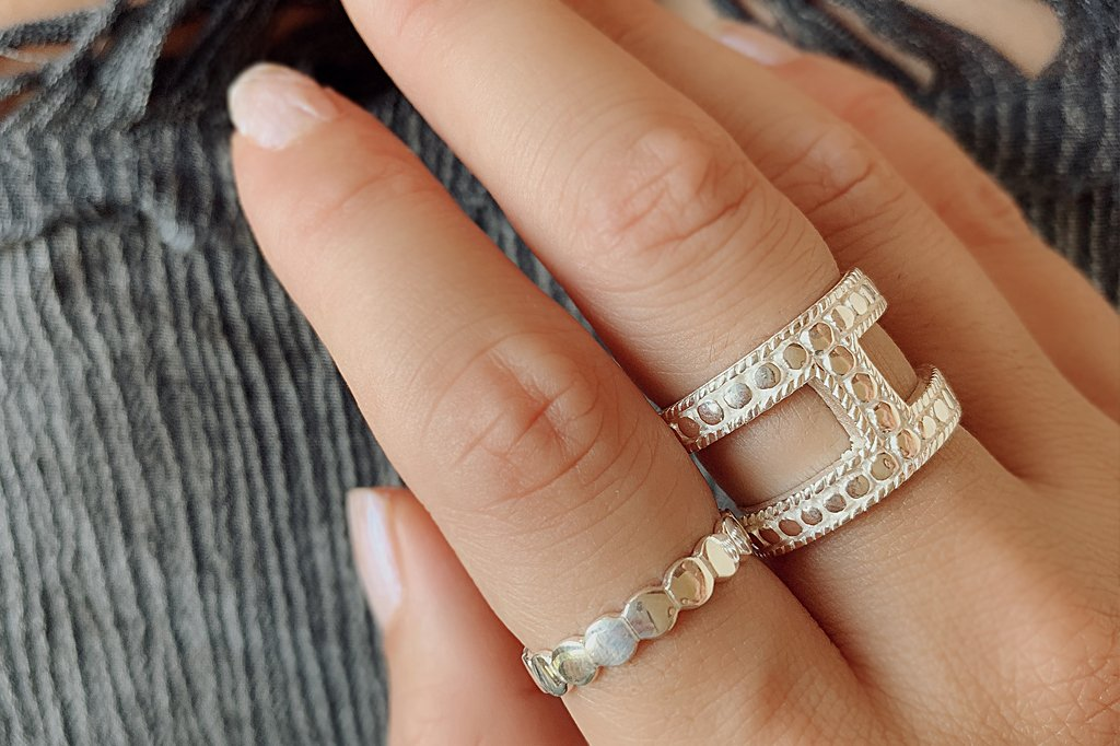 women's sterling silver ring double band handmade jewelry boho bohemian chic kemmi collection