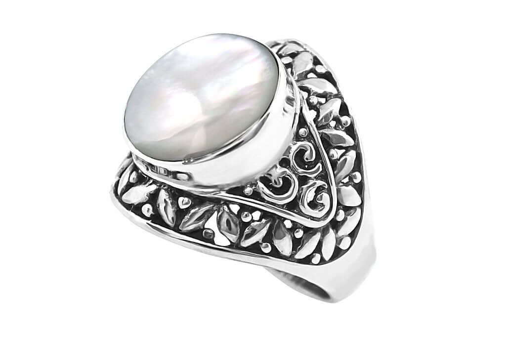 sterling silver ring statement style big round mother of pearl handmade boho gypsy hippie jewels kemmi collection