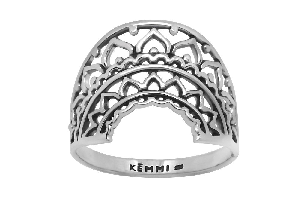 sterling silver mandala ring bohemian style boho gypsy handmade jewelry kemmi collection